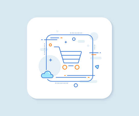 Shopping cart line icon. Abstract square vector button. Online buying sign. Supermarket basket symbol. Market sale line icon. Quality concept badge. Vector 일러스트