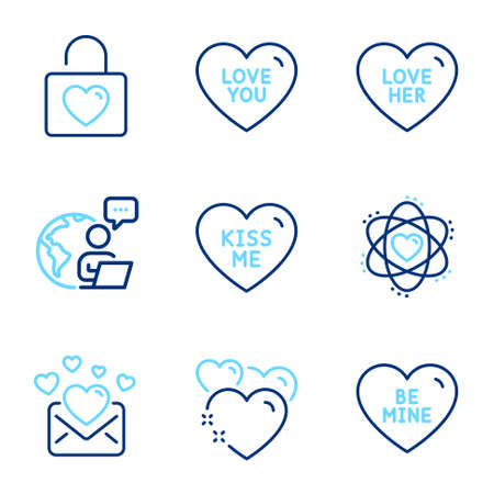Love icons set. Included icon as Kiss me, Heart, Love her signs. Be mine, Love you, Wedding locker symbols. Atom line icons. Sweetheart, Valentines letter. Line icons set. Vector
