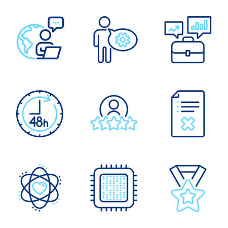 Business icons set. Included icon as Winner ribbon, 48 hours, Cogwheel signs. Business portfolio, Human rating, Atom symbols. Cpu processor, Reject file line icons. Line icons set. Vector 일러스트