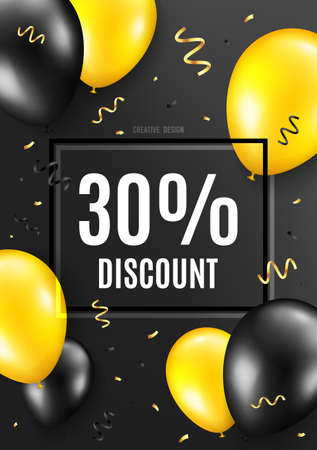 30 percent Discount. Celebrate balloon background. Sale offer price sign. Special offer symbol. Birthday balloon background. Celebrate black banner. Party frame message. Vector