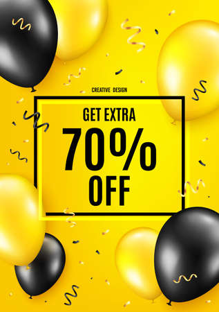 Get Extra 70 percent off Sale. Balloon celebrate background. Discount offer price sign. Special offer symbol. Save 70 percentages. Birthday balloon background. Celebrate yellow banner. Vector