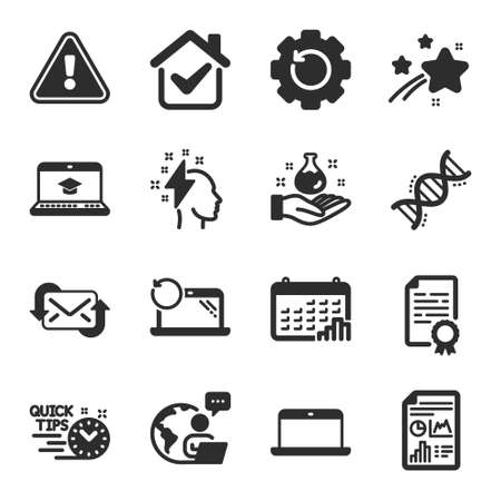 Set of Education icons, such as Website education, Laptop, Certificate diploma symbols. Report document, Recovery gear, Chemistry dna signs. Recovery laptop, Chemistry lab, Brainstorming. Vector