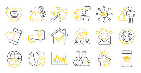 Set of Business icons, such as Approved group, Coffee beans, Global engineering symbols. Love mail, Line graph, Outsourcing signs. Love coffee, 5g technology, Heart. Working process. Vector