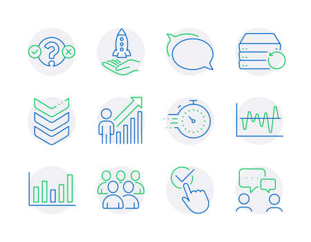 Education icons set. Included icon as Talk bubble, Employee result, Checkbox signs. Column chart, Timer, Crowdfunding symbols. Quiz test, Shoulder strap, Group. Recovery server line icons. Vector