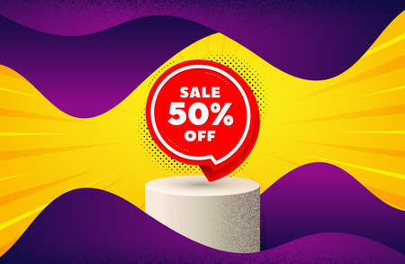 Sale 50 percent off sticker. Background with podium platform. Discount banner shape. Coupon bubble icon. Dotted offer podium banner. Dotwork platform background. Sale 50 badge. Vector 일러스트