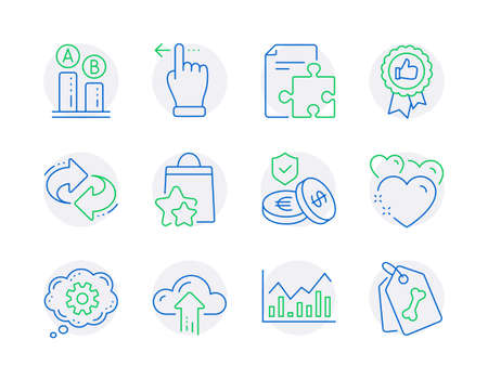 Business icons set. Included icon as Cogwheel, Refresh, Heart signs. Ab testing, Strategy, Positive feedback symbols. Infochart, Loyalty points, Savings insurance. Cloud upload, Pet tags. Vector 일러스트