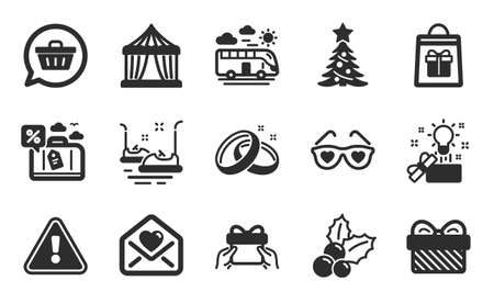 Holidays shopping, Circus tent and Bus travel icons simple set. Christmas holly, Gift and Love glasses signs. Christmas tree, Love letter and Give present symbols. Flat icons set. Vector