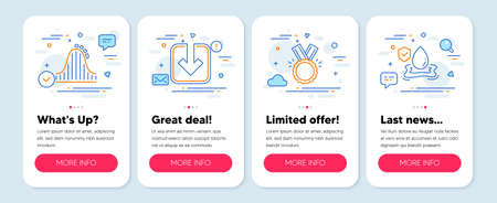 Set of Business icons, such as Honor, Roller coaster, Load document symbols. Mobile app mockup banners. Flood insurance line icons. Medal, Attraction park, Download arrowhead. Full coverage. Vector