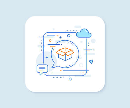 Opened box line icon. Abstract square vector button. Logistics delivery sign. Parcels tracking symbol. Opened box line icon. Speech bubble concept. Vector