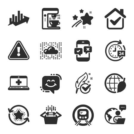 Set of Technology icons, such as Cloud system, Medical help, Loyalty points symbols. Metro subway, Growth chart, Phone survey signs. Smile chat, Hypoallergenic tested, Coffee maker. Vector 일러스트
