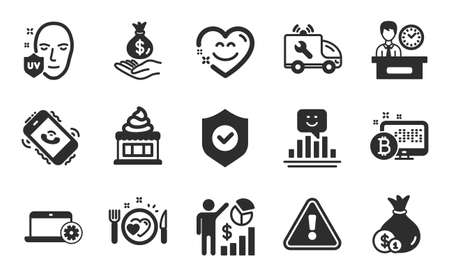 Car service, Romantic dinner and Smile icons simple set. Call center, Ice cream and Uv protection signs. Security shield, Cash and Bitcoin system symbols. Flat icons set. Vector