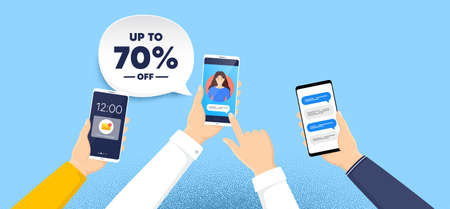 Up to 70 percent off Sale. Phone chat messages. Discount offer price sign. Special offer symbol. Save 70 percentages. Discount tag speech bubble. Hand hold smartphone with chat messages. Vector