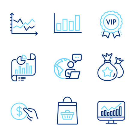 Finance icons set. Included icon as Statistics, Vip award, Diagram chart signs. Payment, Report document, Online buying symbols. Loyalty points, Report diagram line icons. Line icons set. Vector