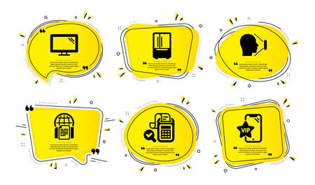 Monitor, Bill accounting and recognition icons simple set. Yellow speech bubbles with dotwork effect. Refrigerator, Internet documents and Vip phone signs. Vector