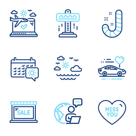 Holidays icons set. Included icon as Travel sea, Attraction, Airplane travel signs. Candy, Sale, Miss you line icons. Summer holidays, Free fall. Line icons set. Vector 일러스트