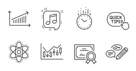 Time, Chart and Chemistry atom line icons set. Keywords, Financial diagram and Certificate signs. Musical note, Quick tips symbols. Clock, Presentation chart, Laboratory molecule. Vector 일러스트