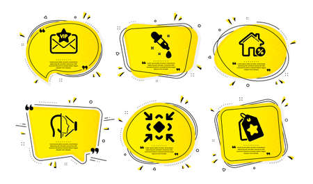 Vip mail, Chemistry pipette and Minimize icons simple set. Yellow speech bubbles with dotwork effect. recognition , Loan house and Loyalty tags signs. Exclusive privilege, Laboratory, Small screen. Vector 일러스트