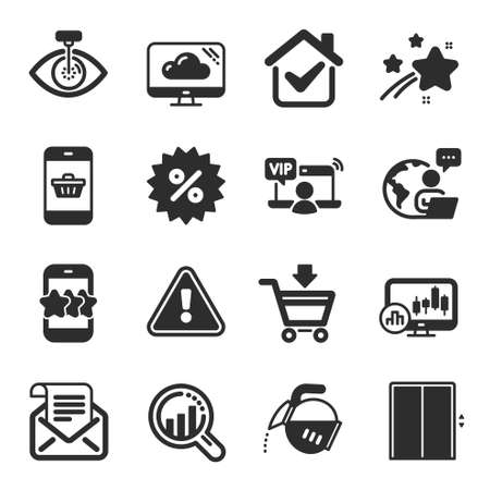 Set of Business icons, such as Online market, Candlestick chart, Eye laser symbols. Star, Seo analysis, Discount signs. Vip access, Mail newsletter, Cloud storage. Smartphone buying, Lift. Vector 일러스트