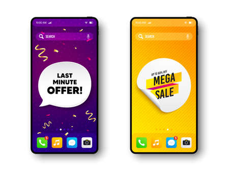 Mega sale sticker. Phone mockup vector confetti banner. Discount banner shape. Coupon tag icon. Social story post template. Last minute offer speech buuble. Cell phone frame banner. Vector