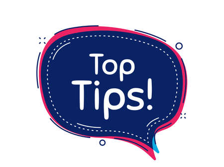 Top tips symbol. Thought bubble vector banner. Education faq sign. Best help assistance. Dialogue or thought speech balloon shape. Top tips chat think speech bubble. Infographic cloud message. Vector