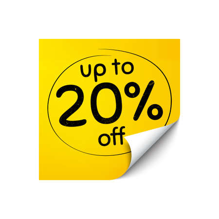 Up to 20 percent off Sale. Sticker note with offer message. Discount offer price sign. Special offer symbol. Save 20 percentages. Yellow sticker banner. Discount tag badge shape. Post note. Vector