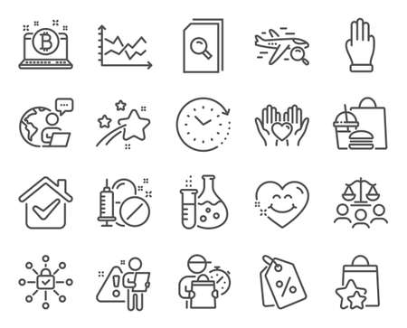 Business icons set. Included icon as Search files, Security lock, Smile face signs. Discount tags, Bitcoin, Three fingers symbols. Chemistry flask, Medical drugs, Loyalty points. Vector 일러스트