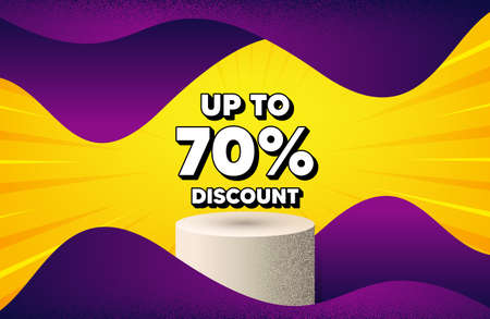 Up to 70 percent Discount. Abstract background with podium platform. Sale offer price sign. Special offer symbol. Save 70 percentages. Dotted offer podium banner. Dotwork platform background. Vector 일러스트