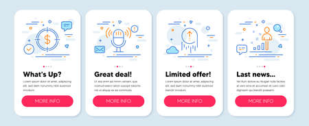 Set of Business icons, such as Swipe up, Dollar target, Microphone symbols. Mobile app mockup banners. Stats line icons. Scrolling page, Aim with usd, Mic. Business analysis. Swipe up icons. Vector