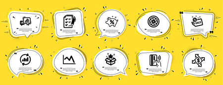 Finance icons set. Speech bubble offer banners. Yellow coupon badge. Included icon as Graph chart, Contactless payment, Sale signs. Loyalty program, Line chart, Payment exchange symbols. Vector