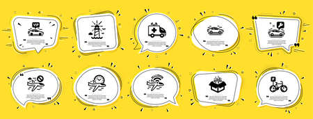 Transportation icons set. Speech bubble offer banners. Yellow coupon badge. Included icon as Bicycle parking, Lighthouse, Car signs. Ambulance car, Airplane wifi, Flight time symbols. Vector
