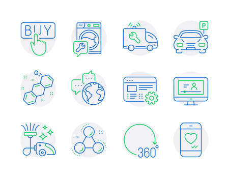 Technology icons set. Included icon as World communication, Vacuum cleaner, Parking signs. Online video, Chemical formula, Chemistry molecule symbols. 360 degrees, Car service, Buying. Vector