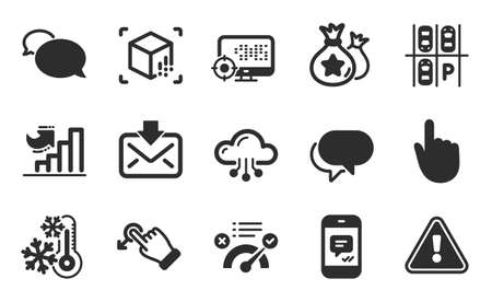 Growth chart, Loyalty points and Seo icons simple set. Incoming mail, Hand click and Cloud computing signs. Messenger, Augmented reality and Freezing symbols. Flat icons set. Vector