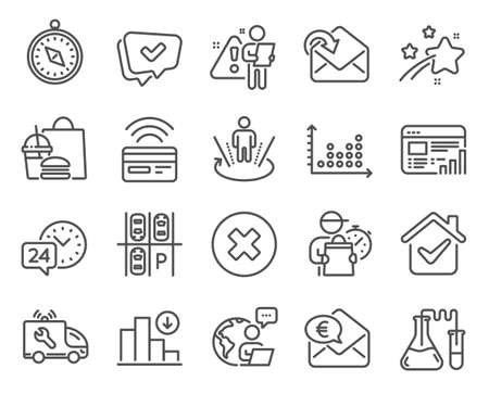 Technology icons set. Included icon as Parking place, Car service, Receive mail signs. 24h service, Chemistry lab, Dot plot symbols. Close button, Web report, Contactless payment. Approved. Vector