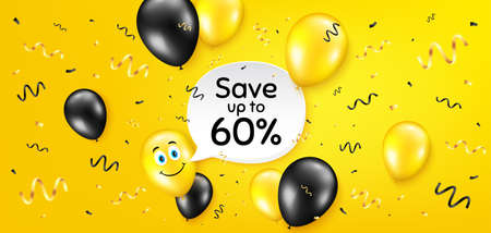 Save up to 60 percent. Balloon confetti vector background. Discount Sale offer price sign. Special offer symbol. Birthday balloon background. Discount message. Celebrate yellow banner. Vector 일러스트