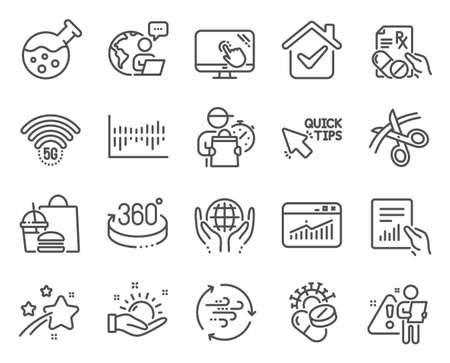 Science icons set. Included icon as 5g wifi, 360 degrees, Website statistics signs. Wind energy, Coronavirus pills, Touch screen symbols. Column diagram, Scissors, Organic tested. Document. Vector 일러스트