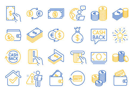 Money line icons. Set of Banking, Wallet and Coins icons. Credit card, Currency exchange and Cashback money service. Euro and Dollar, Cash wallet, exchange. Banking credit card, atm payment. Vector Vecteurs