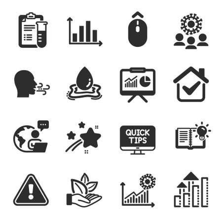 Set of Science icons, such as Web tutorials, Breathing exercise, Presentation symbols. Coronavirus statistics, Coronavirus, Swipe up signs. Analysis graph, Medical analyzes, Water splash. Vector
