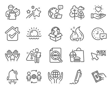 Business icons set. Included icon as Hold heart, Quick tips, Tree signs. Signature, Pay money, Sunset symbols. Hot sale, Engineering team, Clock bell. Seo file, Ranking, Select alarm. Vector