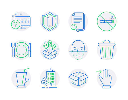 Business icons set. Included icon as Open box, Smartphone protection, No smoking signs. Skyscraper buildings, Search file, Restaurant food symbols. Coffee cup, Trash bin, Fireworks rocket. Vector