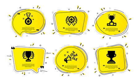 Winner, Winner ribbon and Ole chant icons simple set. Yellow speech bubbles with dotwork effect. Award cup sign. Sports achievement, Best award, Megaphone. Competition results, Trophy. Vector