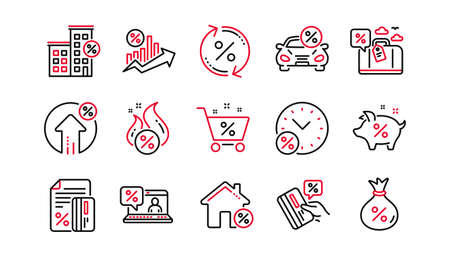 Loan line icons. Investment, Interest rate and Percentage diagram. Car leasing linear icon set. Linear set. Quality line set. Vector