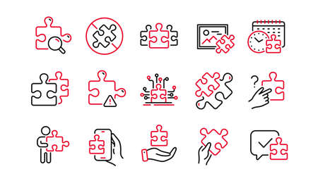Puzzle line icons. Business Strategy, Jigsaw Challenge time, Puzzle Pieces icons. Solution, Decide or Solve piece of problem. Jigsaw game time, Solution options. Linear set. Quality line set. Vector