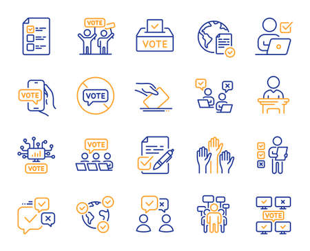 Voting line icons. Public Election, Vote Box, Ballot Paper icons. Candidate, Politics voting and People vote. Government election, Raised hands, Document checklist. Online poll result. Vector