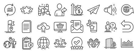 Set of Business icons, such as Best app, Paper plane, Rating stars icons. Mail newsletter, Cloud upload, Web shop signs. Undo, Refer friend, Privacy policy. Favorite, Star, Ole chant. Flag. Vector