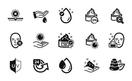 Vector set of Sun cream, Skin care and Uv protection icons simple set. Problem skin, Wash hands and 24 hours icons. Uv protect, Face cream and Spa stones signs. Sun cream simple web symbol. Vector Vektorové ilustrace