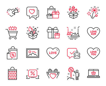 Vector Set of Holidays icons related to Fireworks rocket, Discount and Hold heart icons. Heart, Online shopping and Love you signs. Puzzle, Bumper cars and Discounts ribbon. Fireworks. Vector Vektorové ilustrace