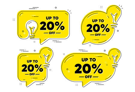 Up to 20 percent off Sale. Idea yellow chat bubbles. Discount offer price sign. Special offer symbol. Save 20 percentages. Discount tag chat message banners. Idea lightbulb balloons. Vector 向量圖像