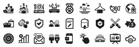 Set of Business icons, such as Smartphone message, Presentation, People communication icons. Swimming pool, Confirmed, Computer cables signs. Fan engine, Arena stadium, Pre-order food. Vector 向量圖像