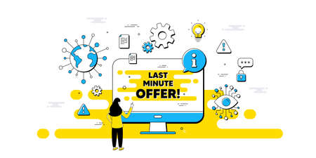Last minute offer. Internet safe data infographics. Special price deal sign. Advertising discounts symbol. Last minute offer information message. Isolated AI privacy banner. Vector