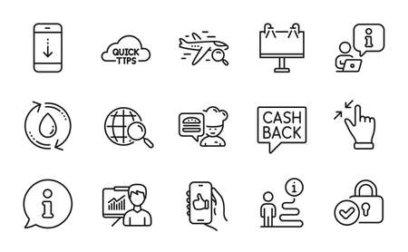 Line icons set. Included icon as Refill water, Money transfer, Search flight signs. Chef, Web search, Scroll down symbols. Verified locker, Road banner, Quick tips. Like app, Presentation. Vector